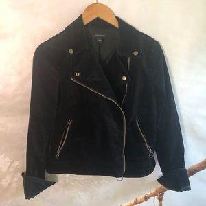 Black velvet cropped moto jacket size 2